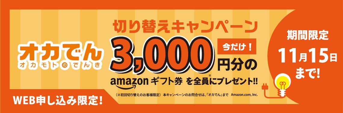 オカでん 切り替えキャンペーン 今だけ!3000円分のamazonギフト券を全員にプレゼント!! 期間限定 11月15日まで